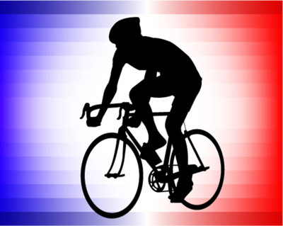 tour de france silhouette rider against french flag