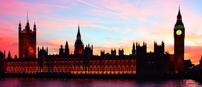 uk parliament buildings at sunset