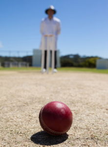 umpire stood over a cricket ball