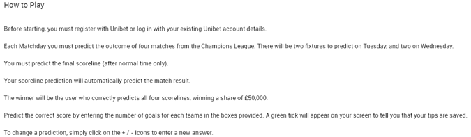 Unibet Free £50,000 Champions League Score Prediction Game | Predict