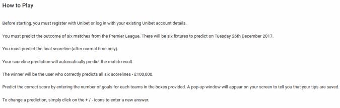 Unibet £100,000 Premier League Free Prediction Game - Pick 6 Correct