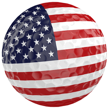 golf ball with American flag