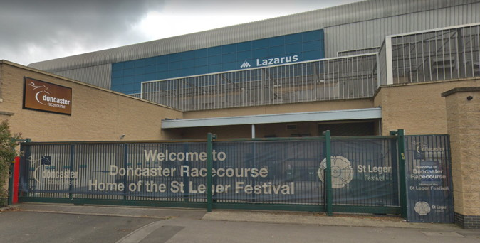 welcome to doncaster racecourse st leger festival sign