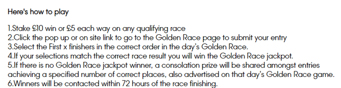 william hill 100k golden race how to play