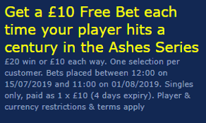 william hill ashes top batsman free bet offer