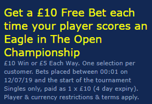william hill golf open free bet