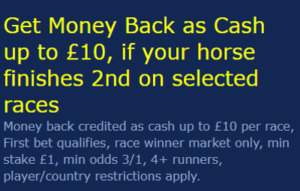 william hill money back 2nd in cash