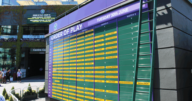 order of play board at wimbledon