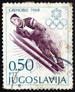 winter olympic stamp grenoble 1968
